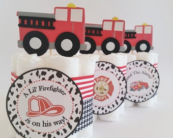Fireman Baby Shower Center pieces, Firefighter Mini Diaper Cakes, Fireman Table Centerpieces Fire Truck Cake Toppers, Baby Shower Decor