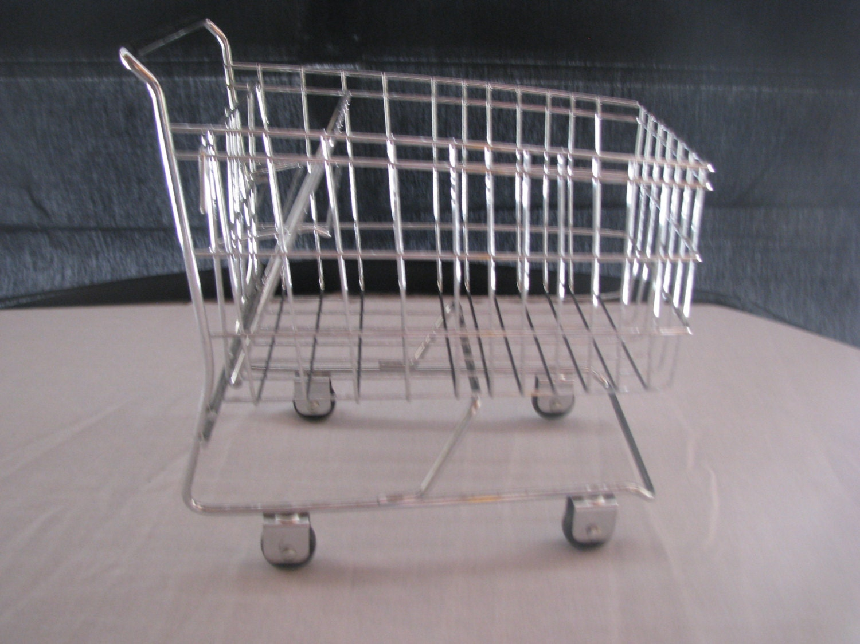 Vintage mini chrome shopping cart basket by shoponwebstreet