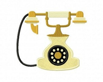 Antique Phone Includes Both Applique and Stitched