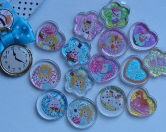 Kawaii alice in wonderland stickers.Plastic coins.Present a pocket watch charm.