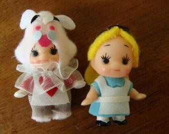 Kawaii Alice in wonderland miniature cupie charms.Alice & White rabbit
