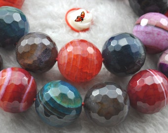 Banded Agate faceted round beads 14mm,28 pcs