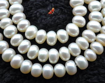 White Fresh Water Pearl smooth rondelle beads 7-8mm,68 pcs