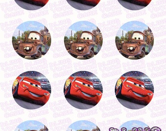 Disney Cars Mater & McQueen Inspired Edible Icing Cupcake Decor Toppers - DC2B