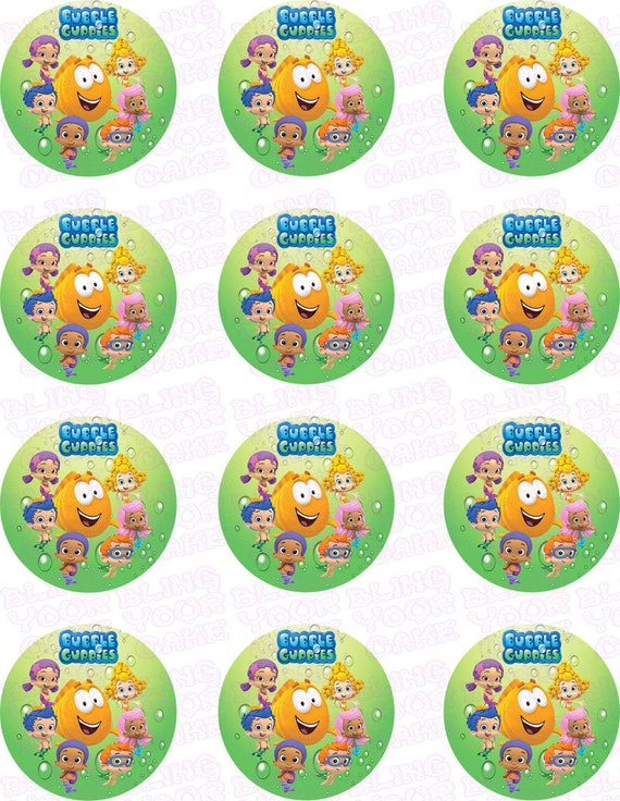 Bubble Guppies Friends Inspired Edible Icing Cupcake Decor Toppers