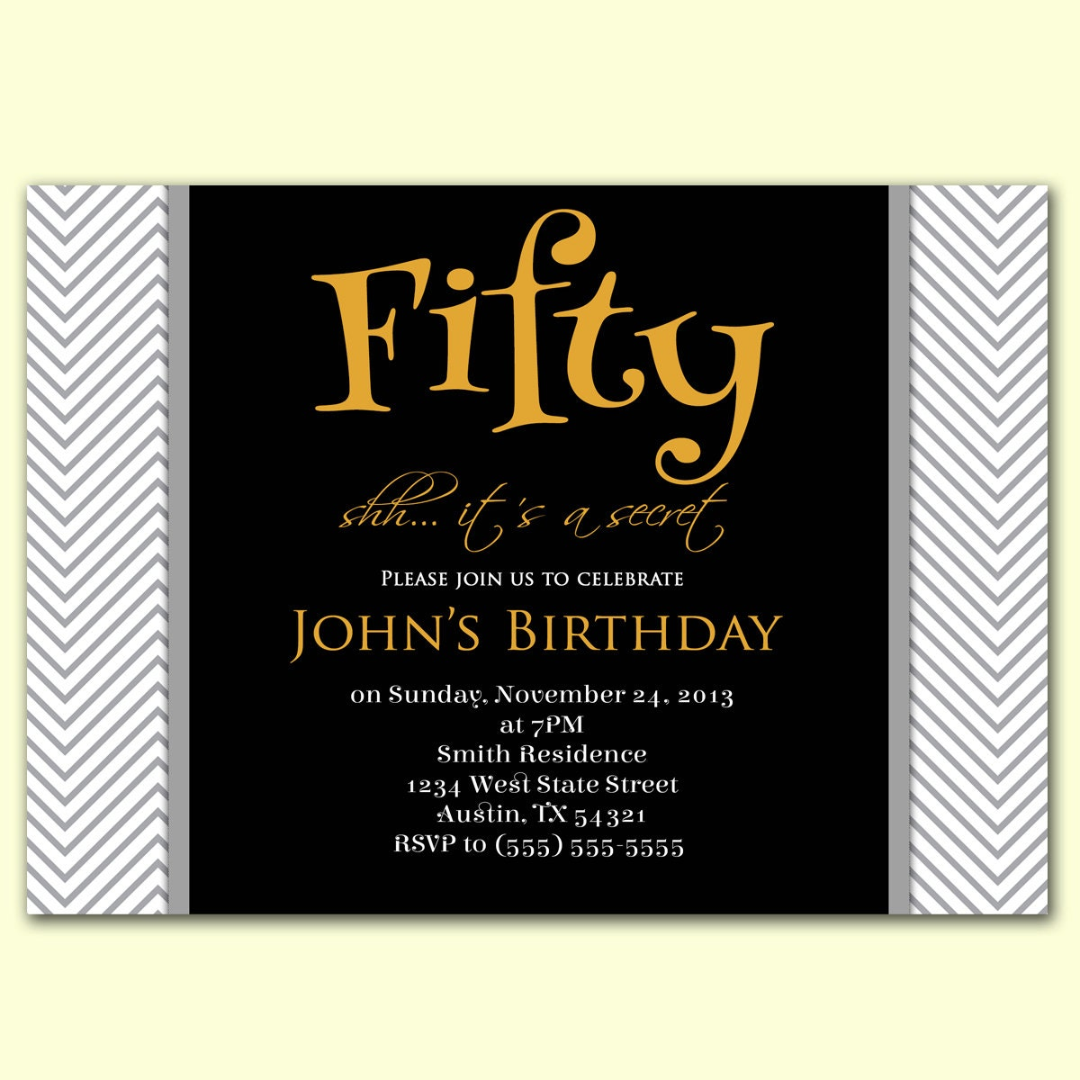 Masculine Invitation Surprise 50th Birthday By PurpleChicklet