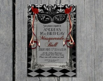 Sweet 16 Masquerade Ball 5X7 Instant Download