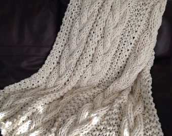 Cable Knit Chunky Blanket, Knit Throw, Chunky Knit Throw, Made to Order