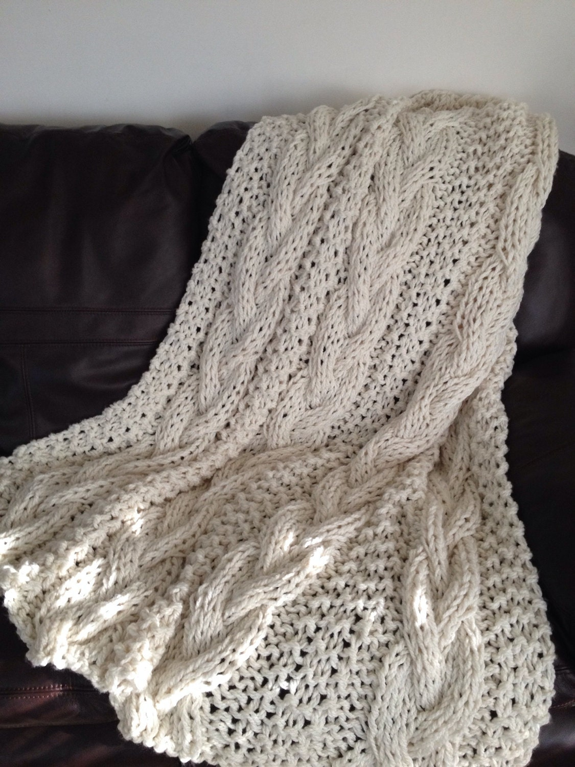 Cable Knit Chunky Blanket Knit Throw Chunky Knit Throw Made