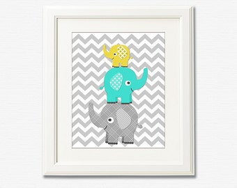 Aqua, Grey and yellow elephant nursery Art Print -8x10- Children wall art, stacked elephants, chevron, grey, turquoise, teal - UNFRAMED