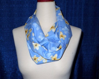 Handmade Women Fashion Infinity Scarf Summer Scarf all Season Scarf Soft Blue and Yellow - Gift for her