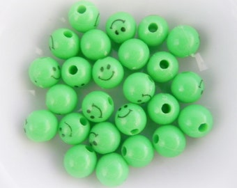 Smiley Beads, 9mm, Green Acrylic Beads, 25 pcs, Fun Beads, Round beads, Smileyface