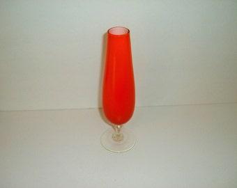 Mid-Century Modern Orange Glass Vase