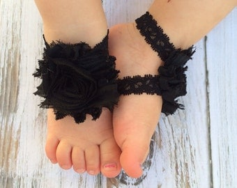 BLACK Lace Baby Barefoot Sandals - Newborn Sandals - Baby Clothing - Newborn Clothing - Baby Girls - Photography Prop