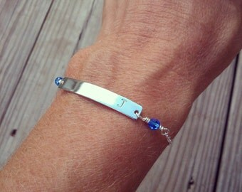 Bar Bracelet with Initial and Birthstones - Hand Stamped Sterling Silver Bar and Swarovski Birthstone Beads - Personalized Gift for Her