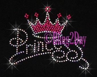 Princess - Hot Pink Crown - Iron on Rhinestone Transfer Bling Hot Fix - DIY