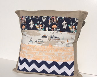 Neutral Coloured Indian Teepee cushion cover for Nursery or Lounge