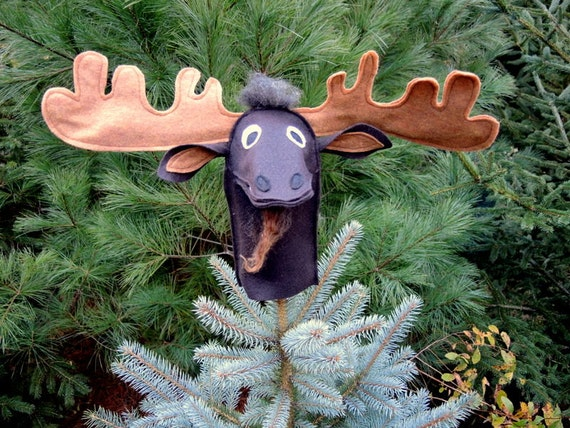 Christmas Gift Maine Brown Moose Animal Hand Puppet Kids Antlers Eco Friendly Childs Toy Tree Topper Holiday Decor in DOWN EAST Magazine