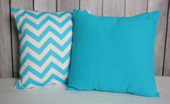 Blue Pillows. Chevron Pillows. Solid Blue Pillows. Accent Pillows. Modern Pillows. Pillows. Home and Living