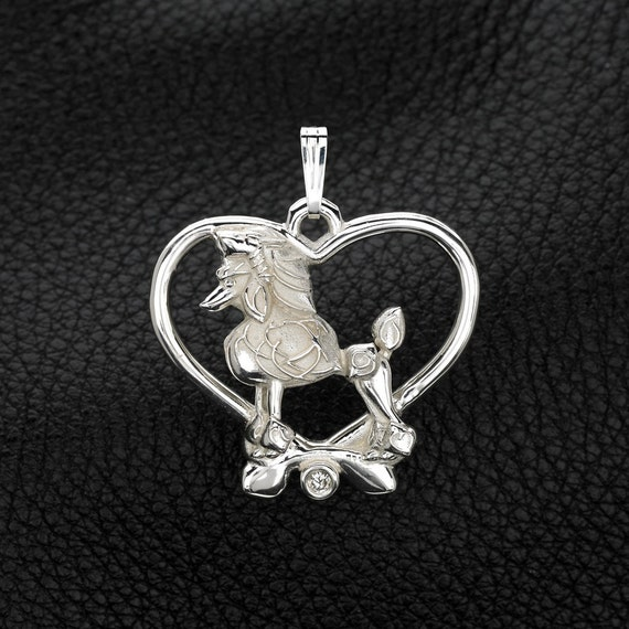 Sterling silver diamond poodle pendant w by for Just my style personalized jewelry studio