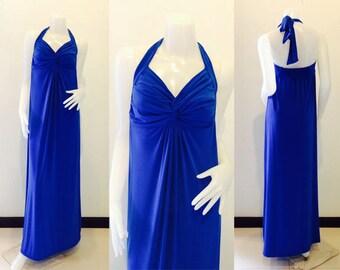 Royal Blue Halter  long maxi dress sun beach dress all size