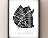 Williamsburg Map - Brooklyn, NYC Neighborhood Art Print