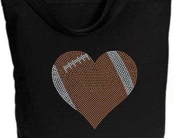 Football Tote Bag/ Football Tote/ Football Bag/ Football Mom/ Football Gift/ Rhinestone Large Football Heart Zippered Tote Bag Shoulder Bag
