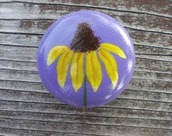 Painted wooden knob magnet, yellow flower, purple, lavender background