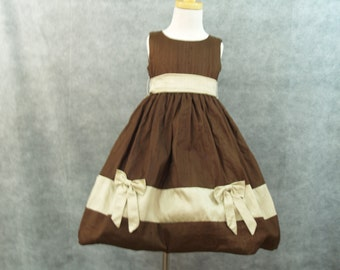4T Dress Chocolate Brown w Champagne color inserts Silk dress, Champagne Stripes,Silk Bows,Flower Girls,Holiday Dress,Christmas Festive Gown