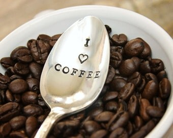 I Heart Coffee Spoon Stir Stick - Coffee Lover - Vintage Silver Plated Silverware - Hand Stamped