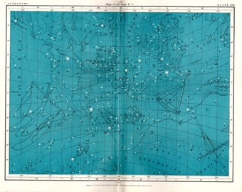 Antique Astronomy Print Celestial Star Map Science Space  Vintage Astronomy Print