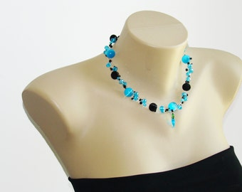 Blue Necklace Black Necklace Beaded Necklace Chunky Necklace Aqua Beaded Necklace