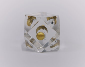 Cut glass deluxe square knob with antique finish clear for Glass bureau knobs