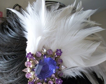 Wedding Sale 10% OFF Was 25.00 Feathery Hair Fascinator Accessory Clip, Ivory & White Feathers with Beautiful Purple Brooch One of a Kind