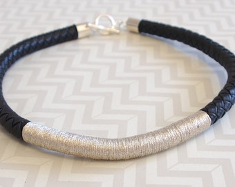 Black and silver wrap rope choker necklace