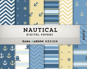 Nautical Digital Papers, Anchor Digital Paper, Nautical Clip Art, Nautical Stripes, Nautical backgrounds, Ship, Compass, Navy and Yellow