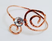 Hammered Copper spiral bangle with Swarovski crystal button