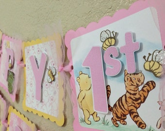 Winnie the Pooh Birthday Banner Girl Classic pink yellow party decorations