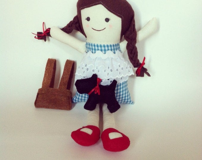 "Dorothy Wizard of Oz Inspired 14"" Cloth Doll"
