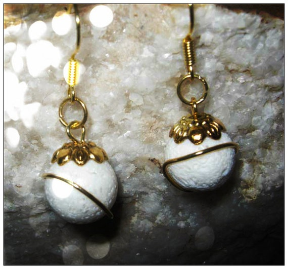 Handmade Gold Earrings with White Bubble Coral by IreneDesign2011