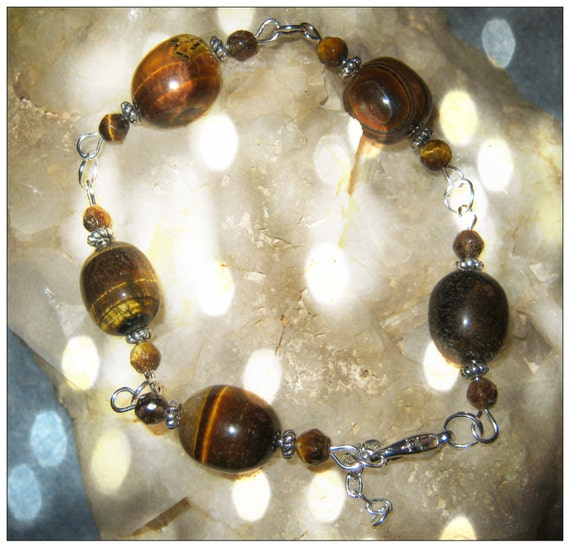 Handmade Silver Bracelet with Tiger's Eye by IreneDesign2011