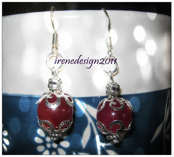 Handmade Silver Hook Earrings with Pink Alexandrite & Roses by IreneDesign2011