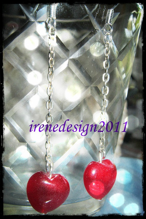 Handmade Silver Earrings with Chain & Ruby Hearts by IreneDesign2011