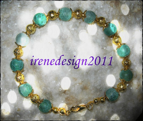 Handmade Gold Bracelet with Green Vein Agate by IreneDesign2011