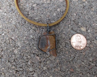 Petrified Wood Necklace hematite wire wrapped with Adjustable Leather Cord  (8)
