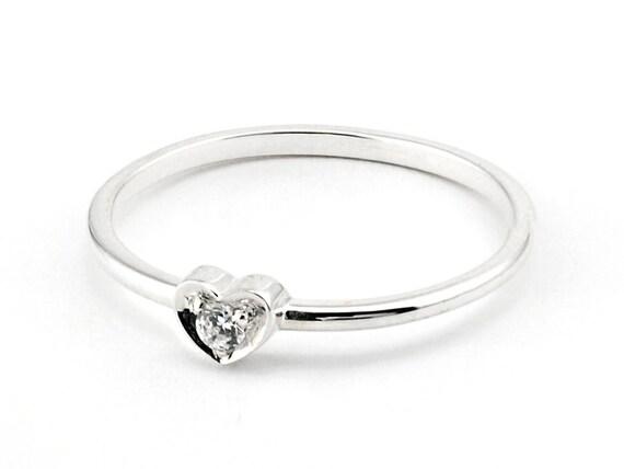 Diamantring herz  Ähnliche Artikel wie Verkauf 20 % OFF 14 k White Gold Herz Ring ...