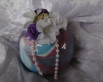 Purple, Blue, and White Christmas Ornaments, Set of 2 Glass Balls