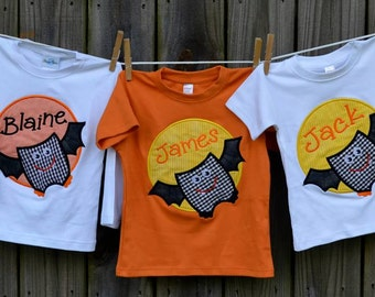 Personalized Halloween Bat Patch Applique Shirt or Onesie for Boy or Girl
