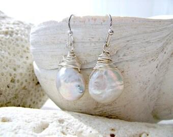 Freshwater Pearl Earrings Coin Pearl Earrings Genuine Pearl Earrings Pearl Jewelry Beach Wedding Bridesmaid Earrings June Birthstone gift,
