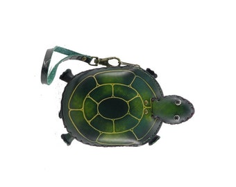 Genuine Leather Green Turtle Wristlet /  Green Turtle Coin Purse